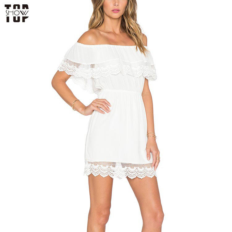 China factory white off the shoulder tiered lace mini dress for women
