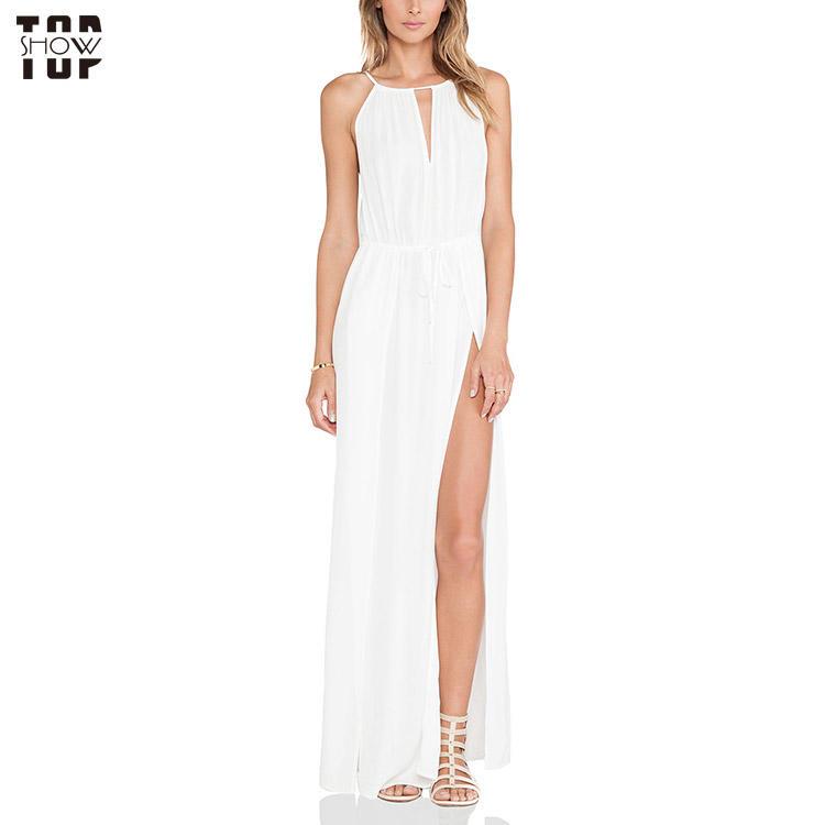 Wholesale white front neckline keyhole high slit maxi dress for women