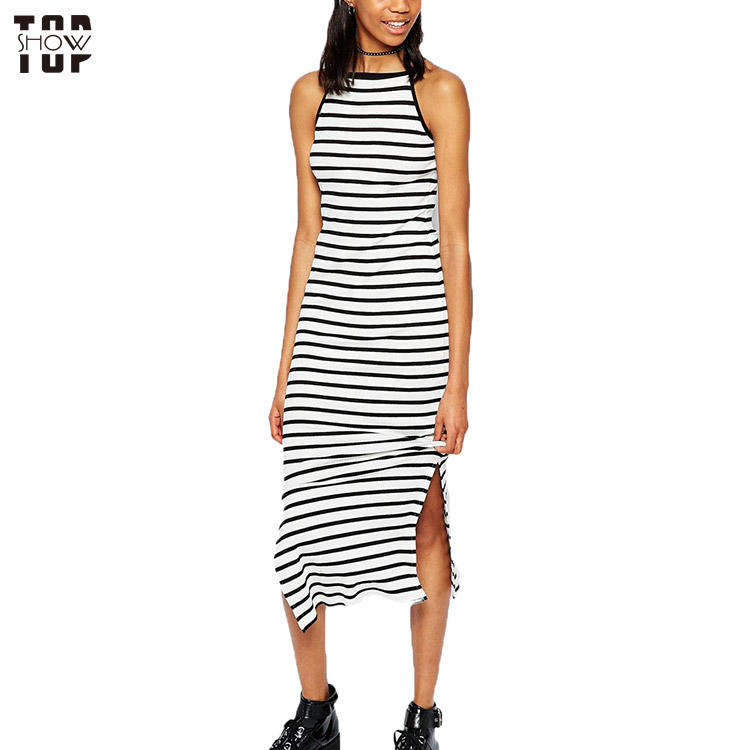 Custom black and white stripe hign square neck side splits maxi dress for women
