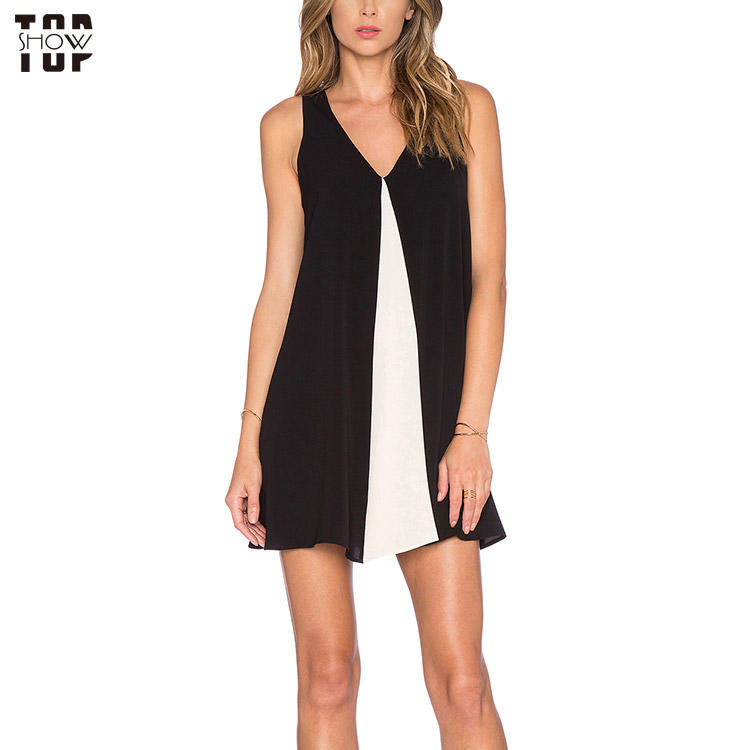 China wholesale black and white contrasting color panels mini dress for women