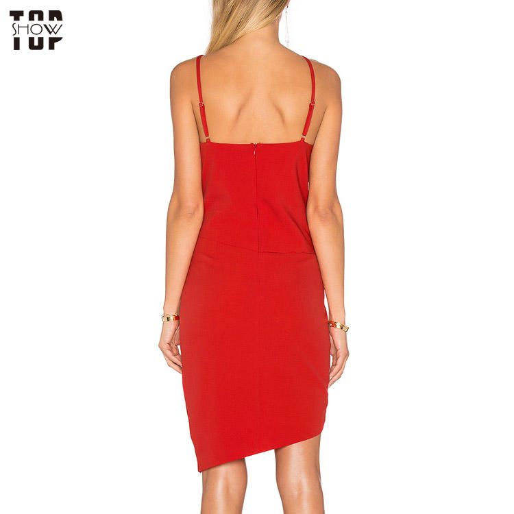Wholesale bodycon dress woman short tulip dress in red