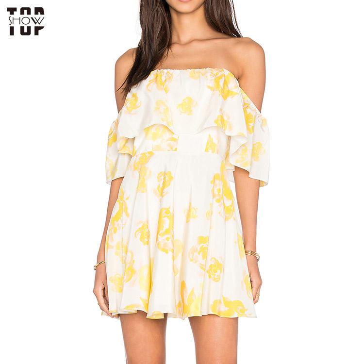 OEM woman dress factory manufacture draped ruffle overlay print dress