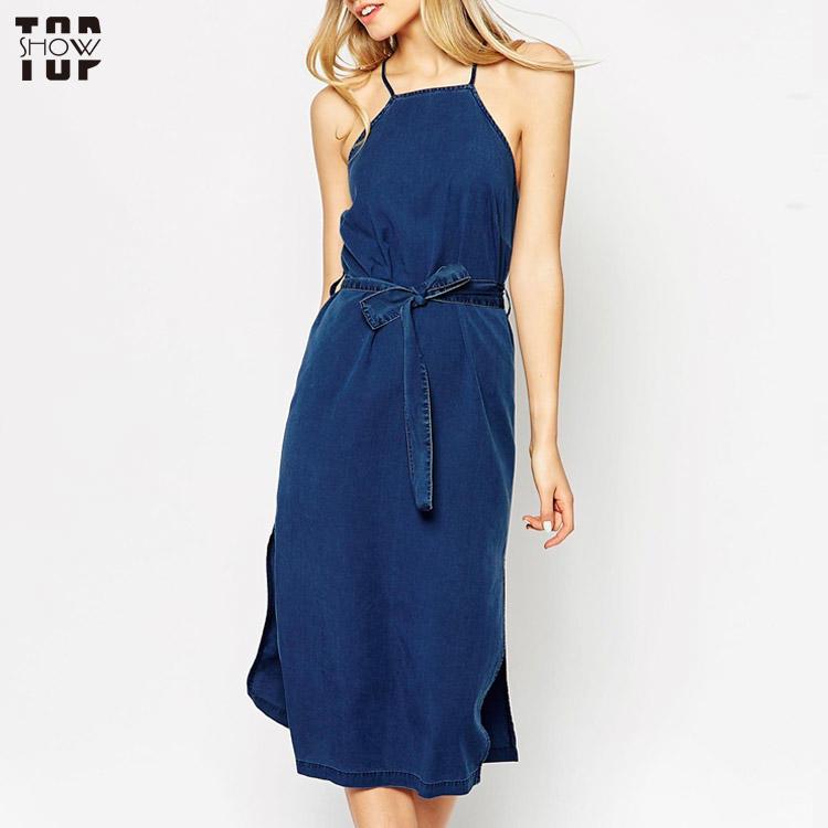 Topshow garment denim dress cross back halter midi dress with tie