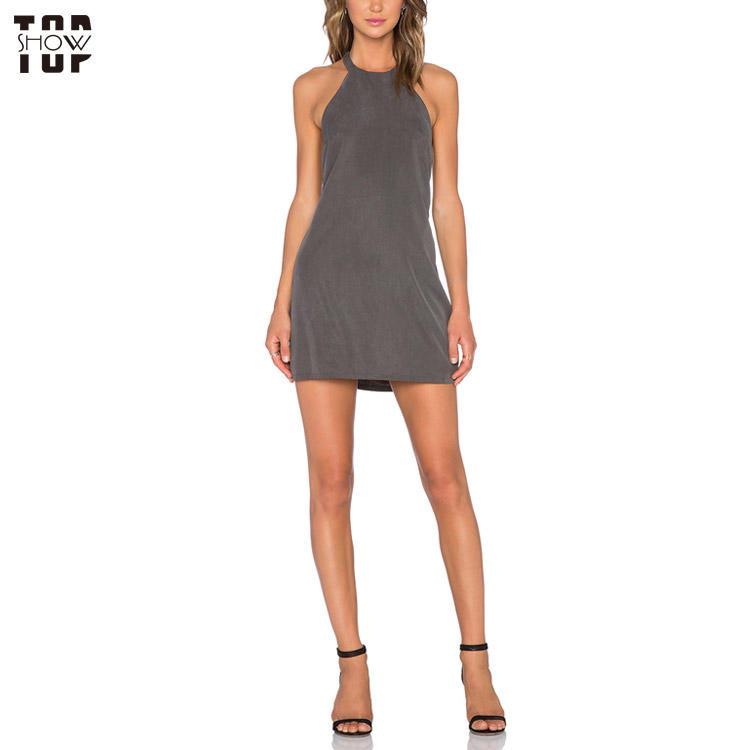 Topshow garment wholesale dress customized backless halter dress