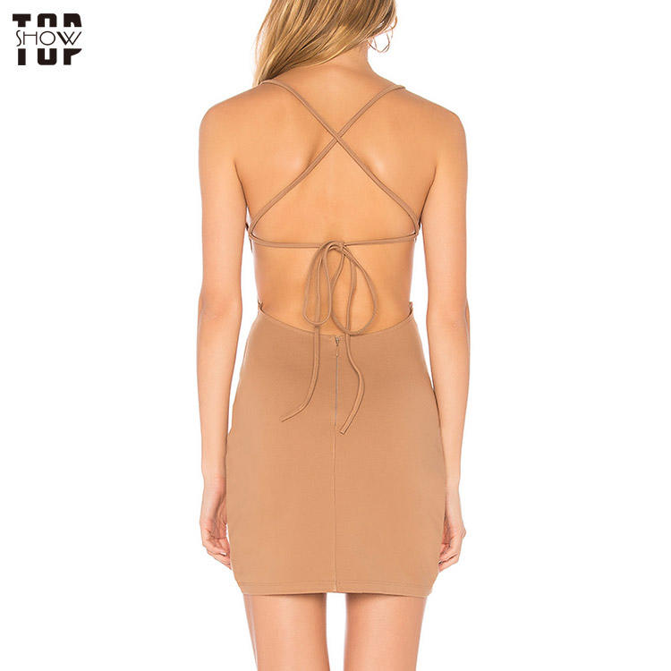 OEM factory wholesale nude lace up backless mini dress