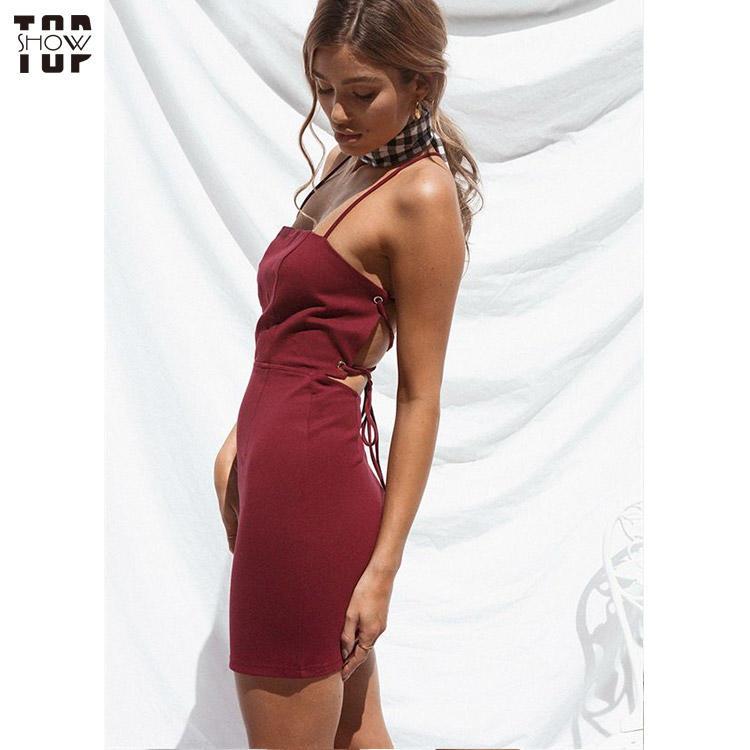Dongguan clothing factory spaghetti strap backless mini dress