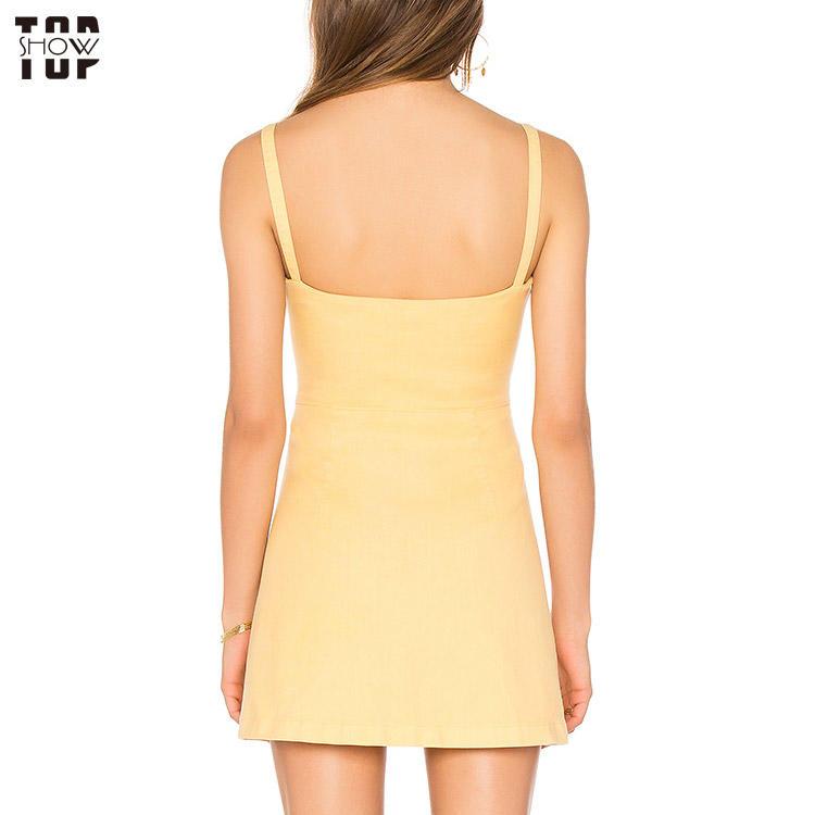 Summer dress button up yellow mini sun dress
