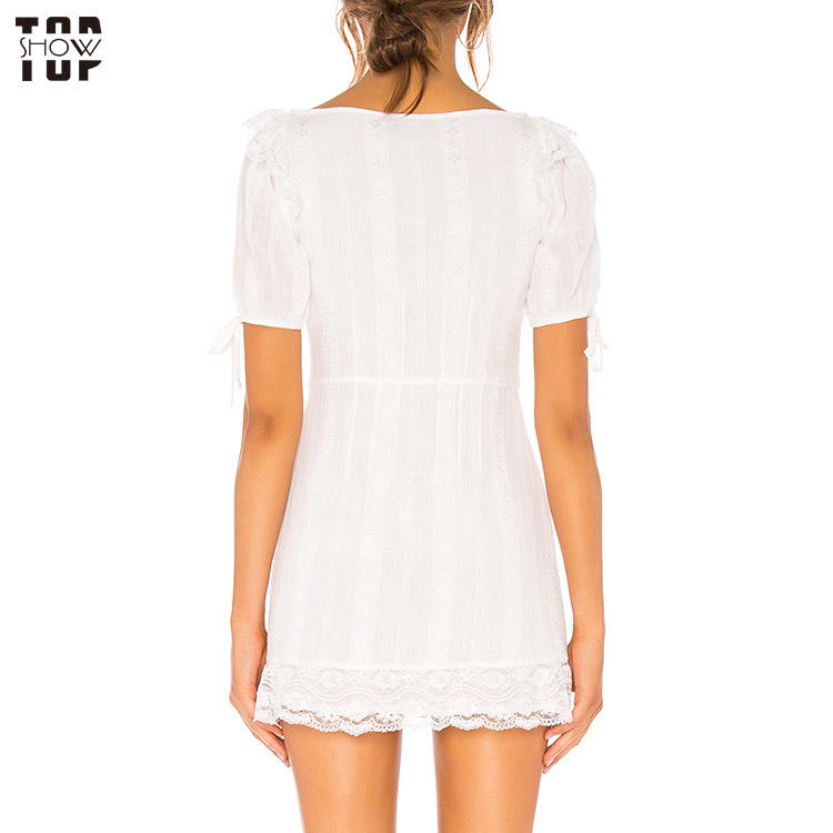 Fashion lace eyelet short sleeve mini dress