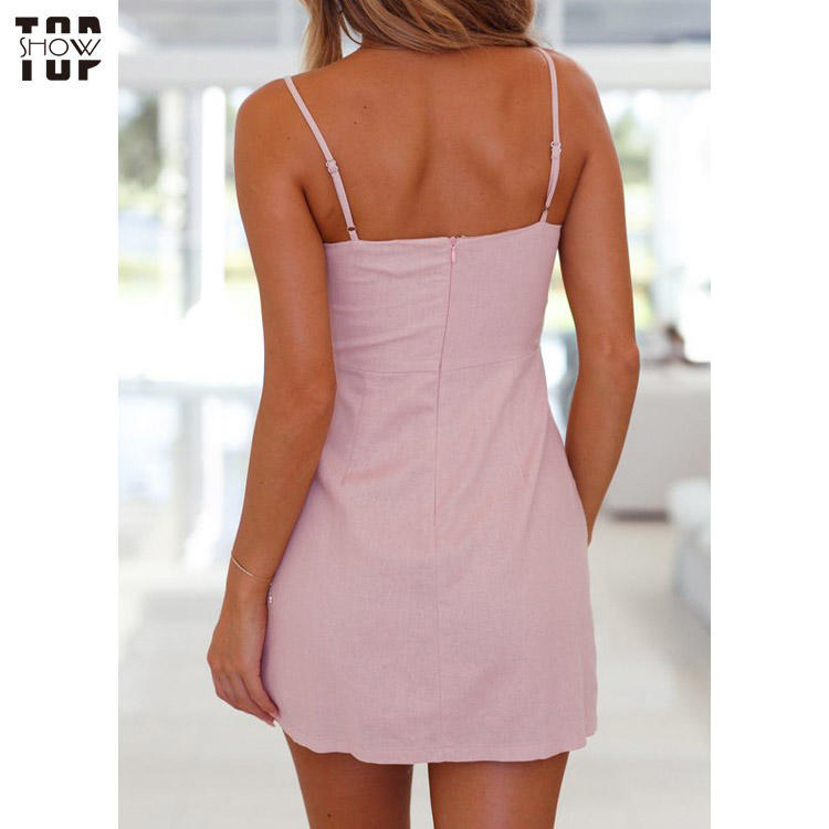 Lady v neck front knot mini pink dress