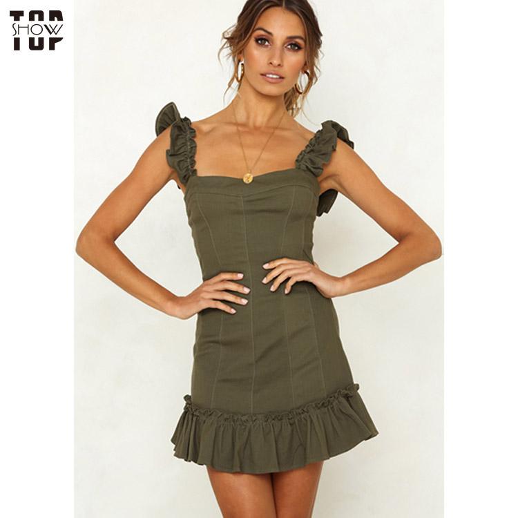 TopShow dazzling open back halter dress for ladies-3