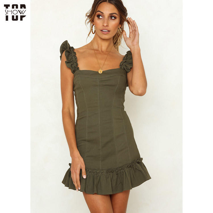 Custom women's ruffle hem bodycon mini dress