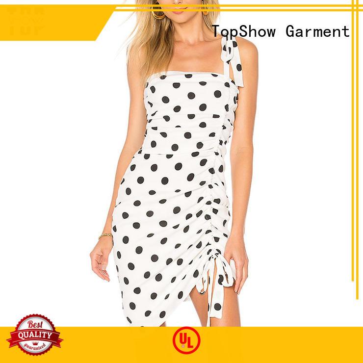 TopShow splendid black and white mini dress ruffle daily wear