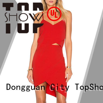 TopShow exquisite v neck halter dress daily wear