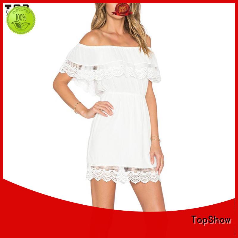 TopShow sun v neck mini dress supply for girls