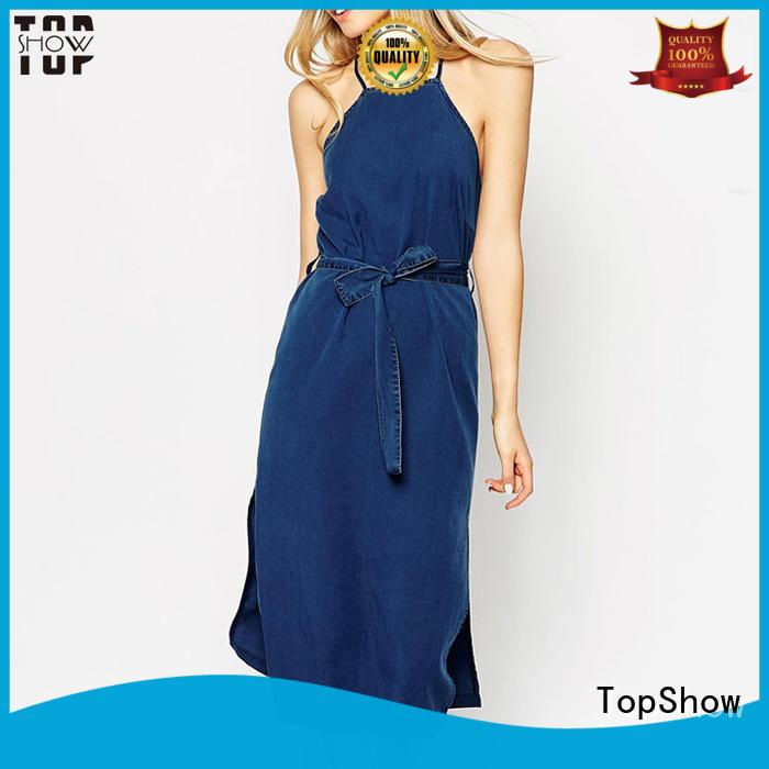 TopShow stripe denim mini dress factory price for girls