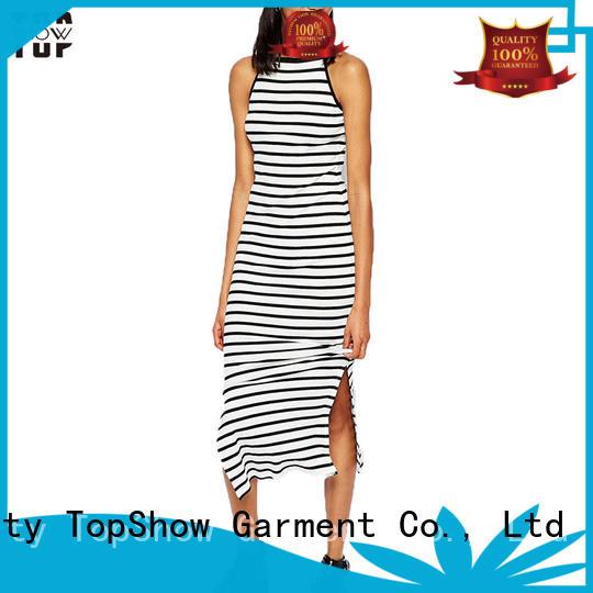 TopShow Wholesale trending pink midi bodycon dress slit street wear