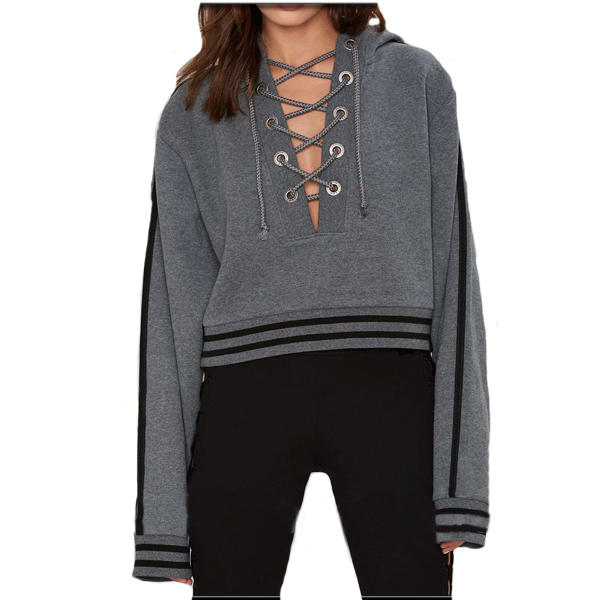 Top fashion lace- up oversized womens hooded jackets for ladies cropped hoodie