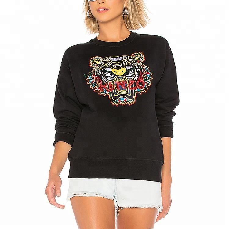 OEM crew neck sweatshirt custom tiger embroidered sweatshirt women