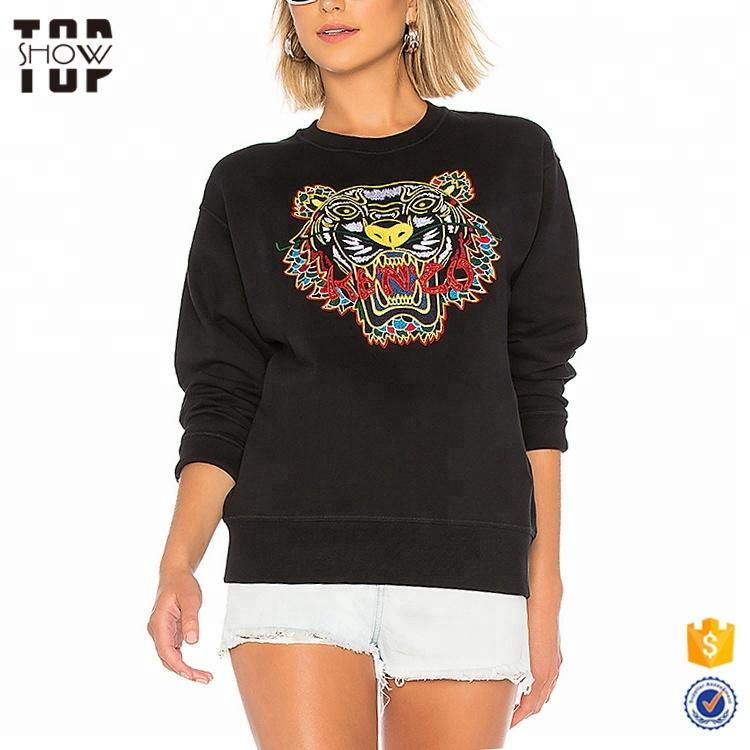 OEM crew neck sweatshirt custom tiger embroidered sweatshirt women