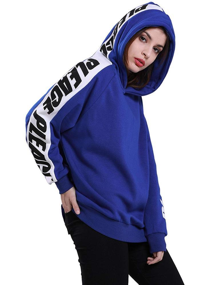 Custom Women'S Loose Letter Printing Sleeve Thicken Pullover Hoodie Manufacturer