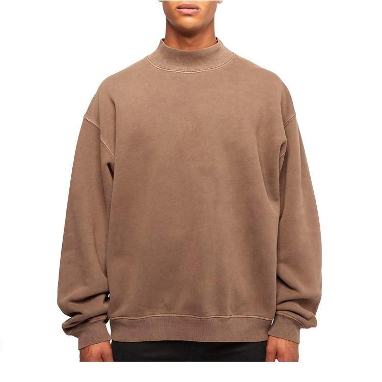 Men'S Fashion Hoodies Custom High Quality 100% Cotton Oversized Mock Neck Sweatshirt