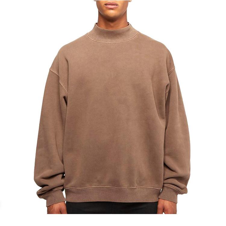 Men'S Hoodies Custom High Quality 100% Cotton Oversized Mock Neck Sweatshirt