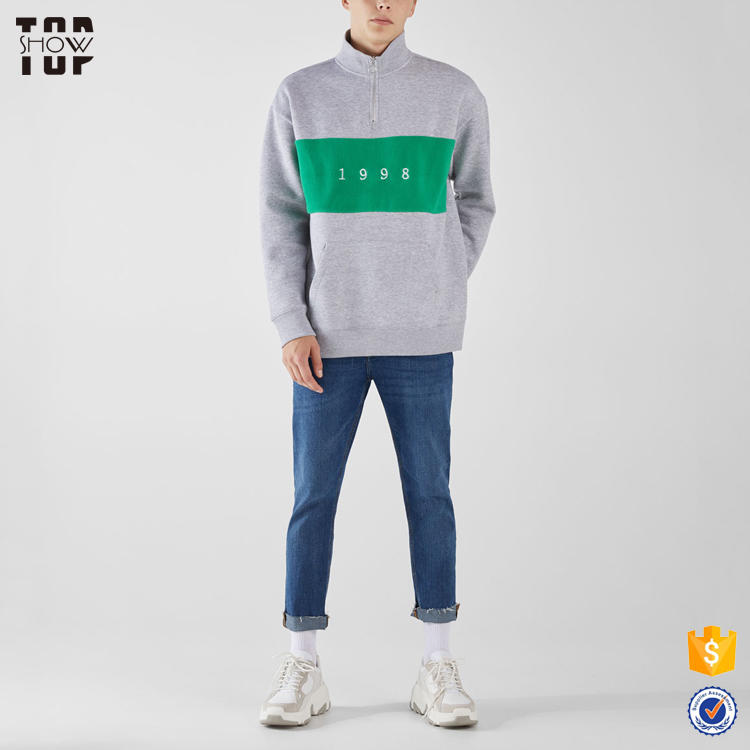 Wholesale clothing custom mens streetwear 1/4 zip pullover embroidered sweatshirt