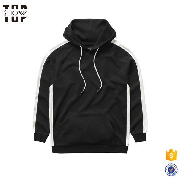 OEM wholesale fashion long sleeve black hoodie white strings pullover hoodie black hoodies men