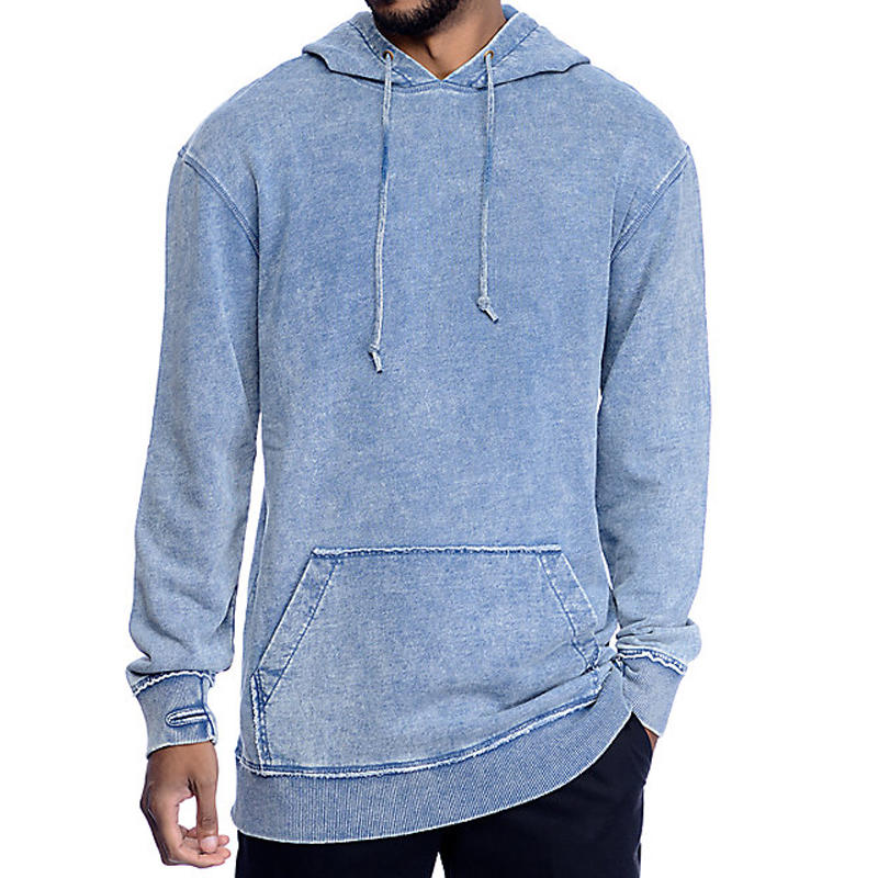 China Supplier Men'S Oversized Lightweight Denim Blue Acid Wash Guys Hoodies