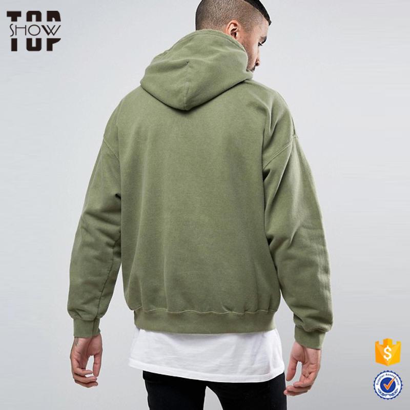 Custom Logo Men Oversized Wholesale Hoodies Drop Shoulder Hoodies In Washed Green