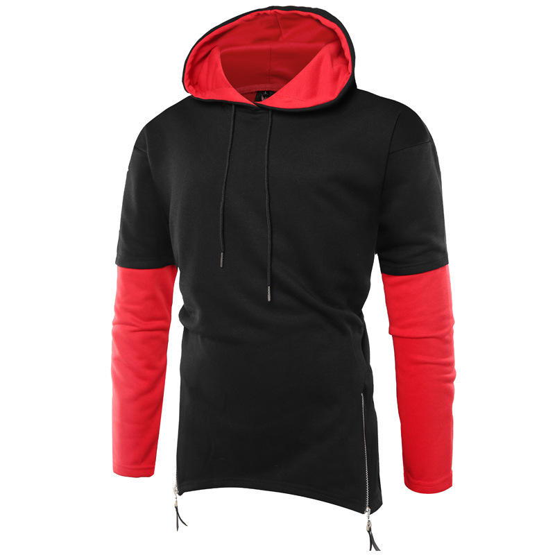 Custom street wear two tone hoodie with contrast hood and half zip