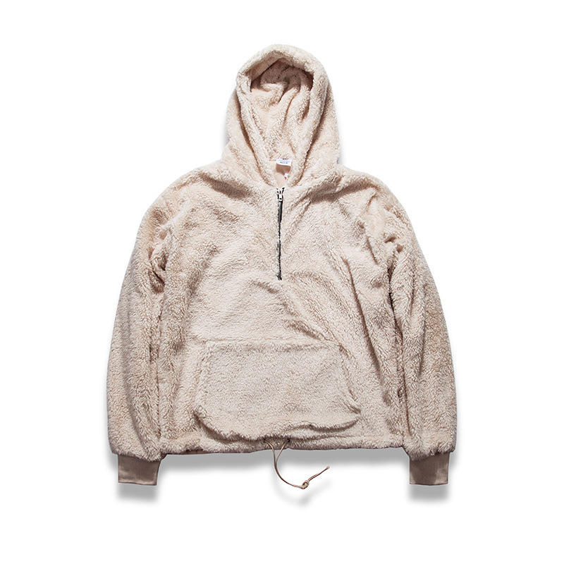 Hot Sell Winter Jumper Custom Half Zip Oversized Sherpa Wholesale Hoodies In Borg