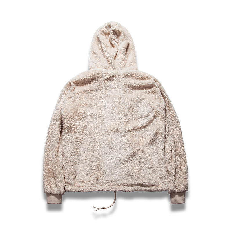 Hot Sell Winter Jumper Custom Half Zip Oversized Sherpa Wholesale Hoodies In Borg