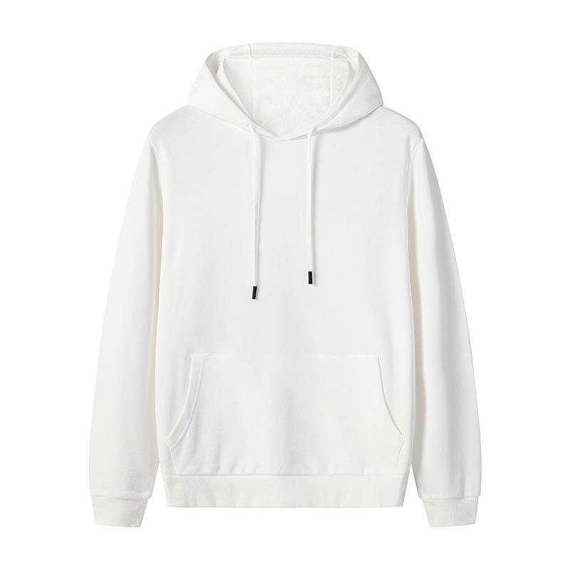 Trend 2019 fashion men pullover 100% cotton blank white track hoodie