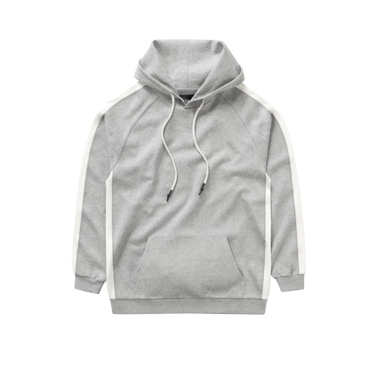 OEM wholesale fashion long sleeve black hoodie white strings pullover hoodie black hoodies men